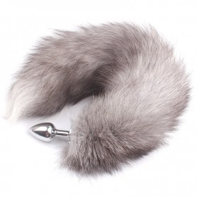 Real Silver Fox Tail Butt Plug DSBAD-010